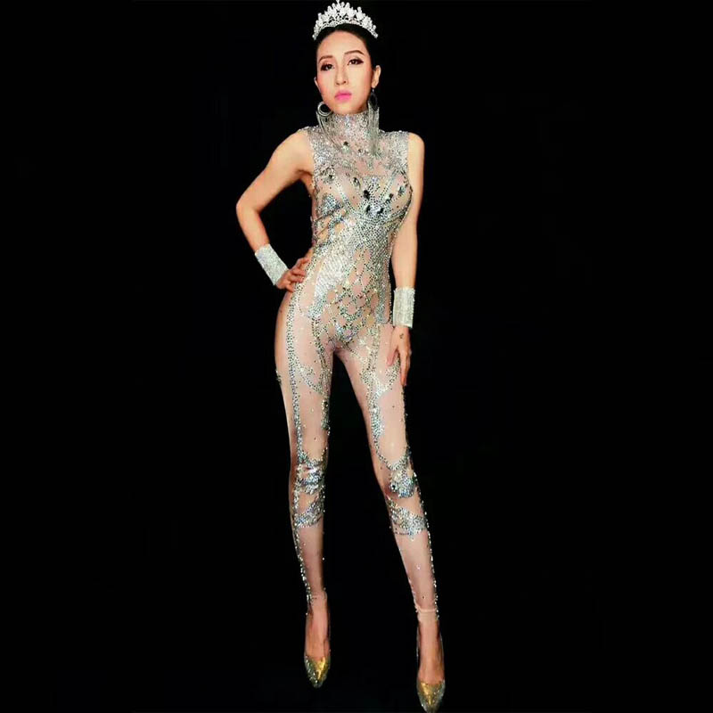 Femmes mode strass combinaison discothèque DJ fête porter danse body mode barboteuses Leggings Stretch Sexy Costume DJ113