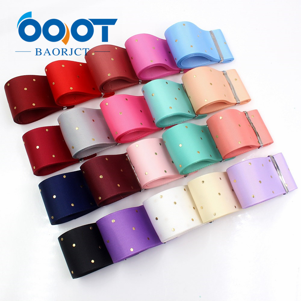 OOOT BAORJCT I-19407-862,38mm,10yards Solid Color Dot Hot Stamping Grosgrain Ribbons,bow Cap DIY Accessories  Decorations