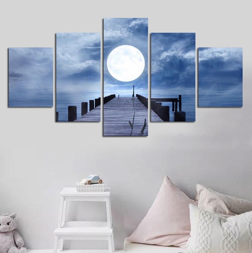 5 шт. Луны wall art плакат сумерках pier Декоративные Холст Картина гостиной диван спальня decora доставка FA490