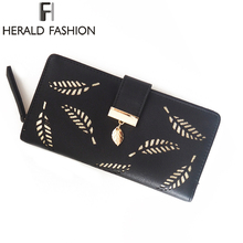 Herald Fashion Women Leather Wallet Hollow Out Card Purse Coin Holder Money Clip Long Phone Clutch Quality Photo Cash Pocket