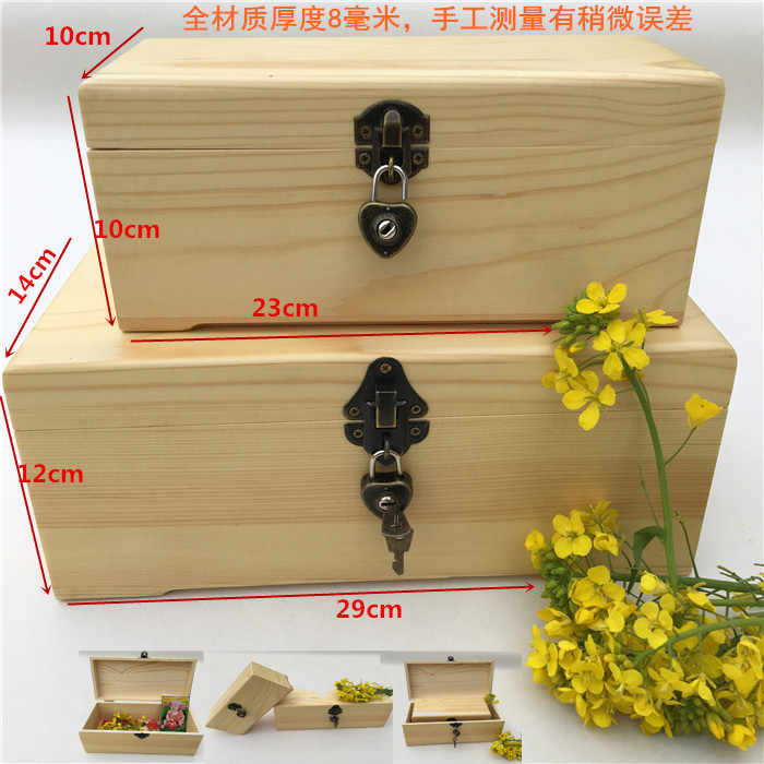 Large pine wood box customized rectangular locking storage box box gift box post Christmas trees