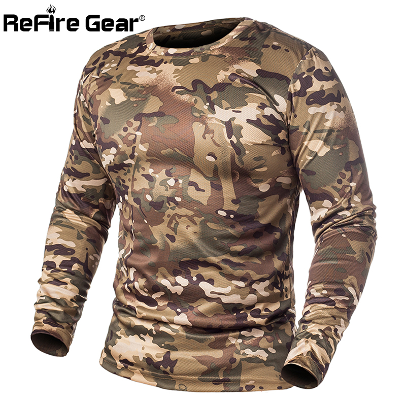 ReFire Gear Spring Long Sleeve Tactical Camouflage T-shirt Men Soldiers Combat Military T Shirt Quick Dry O Neck Camo Army Shirt