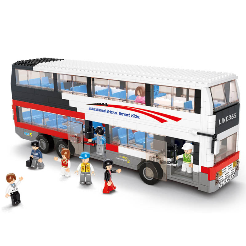 B0335 SLUBAN City Double Sightseeing Bus Model Building Blocks Classic Enlighten Figure Toys For Children Compatible Legoe 1700 sluban city police speed ship patrol boat model building blocks enlighten action figure toys for children compatible legoe
