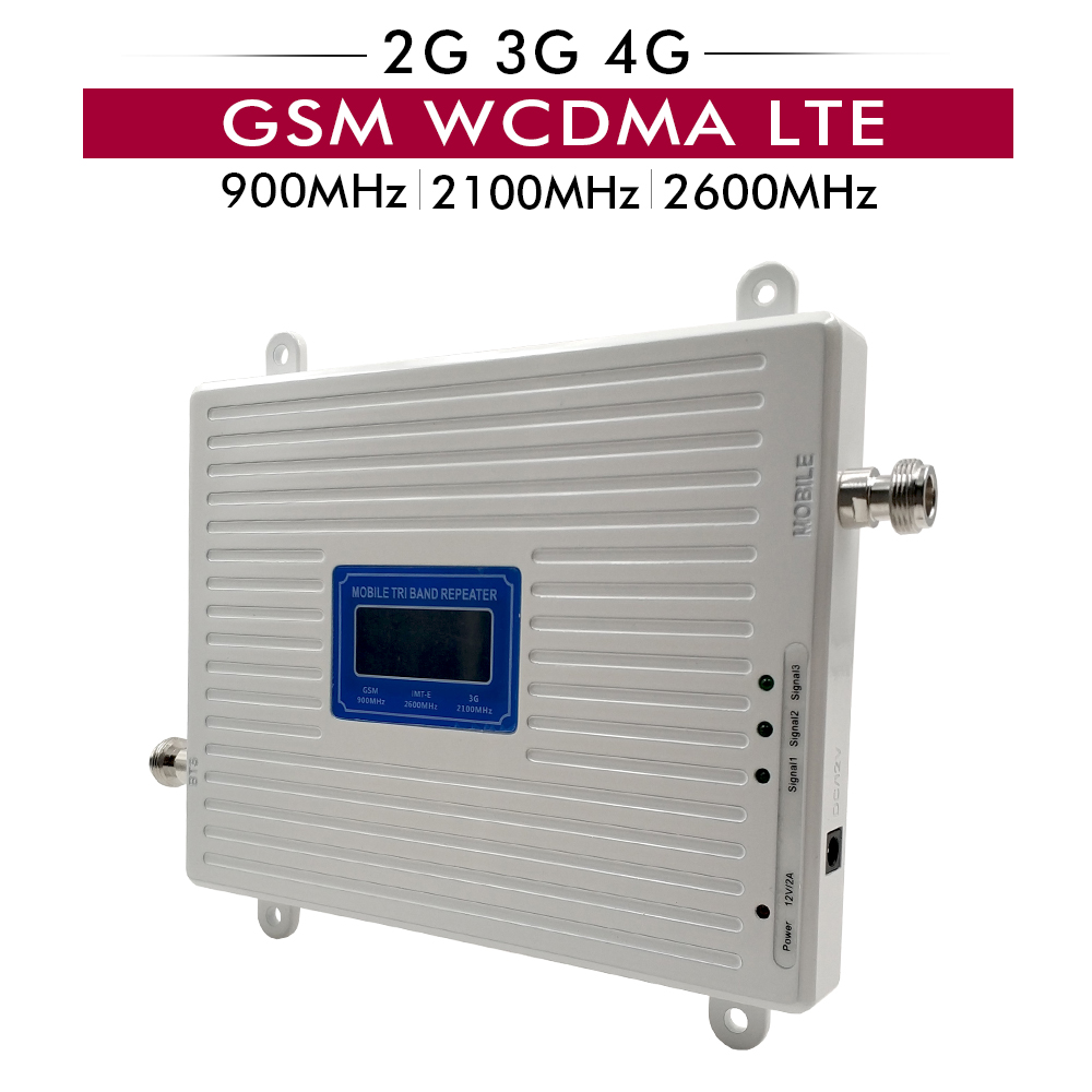 2G 3G 4G Tri Band Booster GSM 900 WCDMA 2100 LTE 2600 Cellular Amplifier Cell Phone