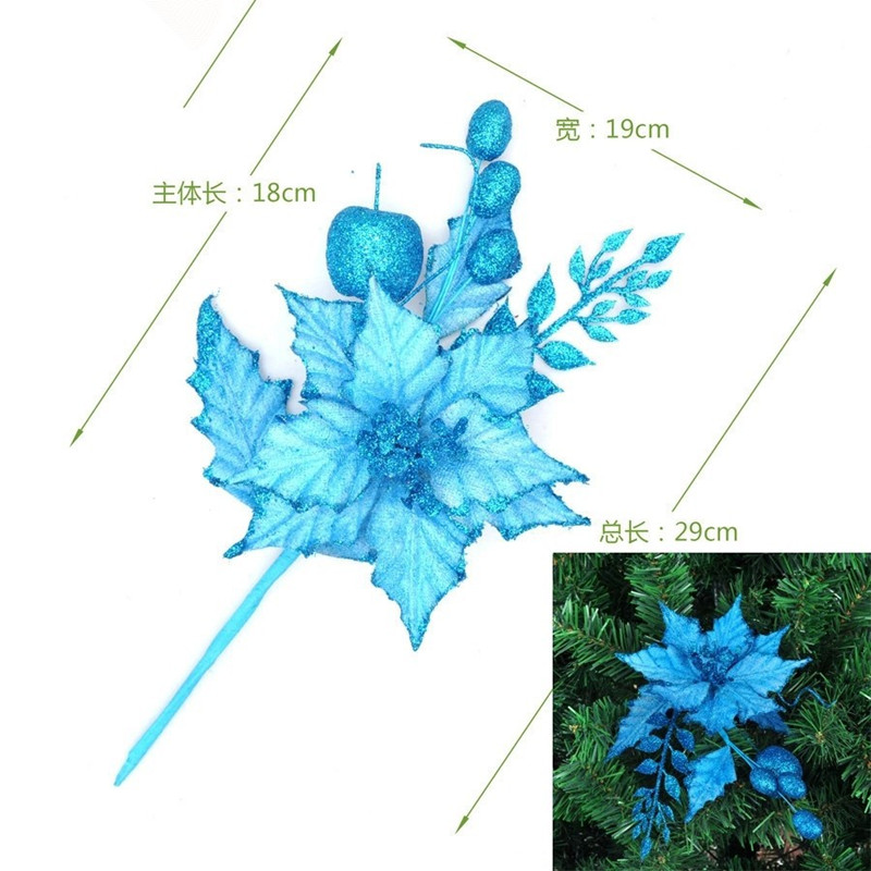Hot Sale Blue Christmas Tree Ornament wreath of Christmas tree branches inserted ear decoration for christmas suppliers