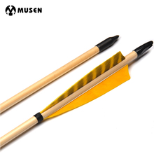 6/12pcs 31Inches Spine 500 Wooden Arrows with White Pine Wood and Yellow Turkey Feather for Traditional Long Bow Archery