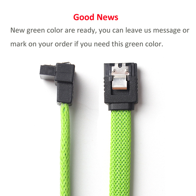 5 PCS SATA 3.0 III SATA3 7pin Data Cable 6Gb/s Right Angle Cables HDD Hard Disk Drive Cord line Green Red Nylon Sleeved 50CM