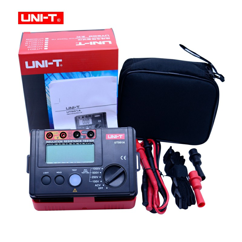 UNI-T UT501A Insulation Resistance Tester 100V--1000V megger Insulation earth ground Resistance meter r Megohmmeter Voltmeter uni t ut501a 1000v megger insulation earth ground resistance meter tester megohmmeter voltmeter w lcd backlight
