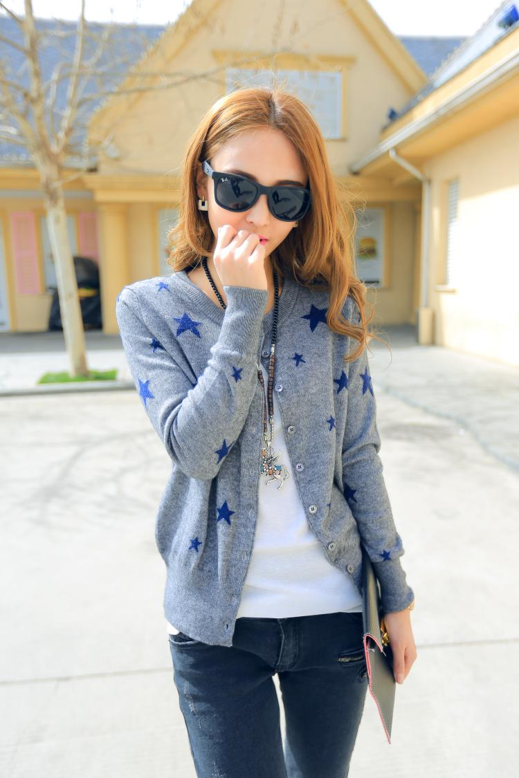 Europe All-match Female Stars Cashmere Cardigan Knit Shirt Fashion Leisure Pure Cashmere wool Sweater Coat
