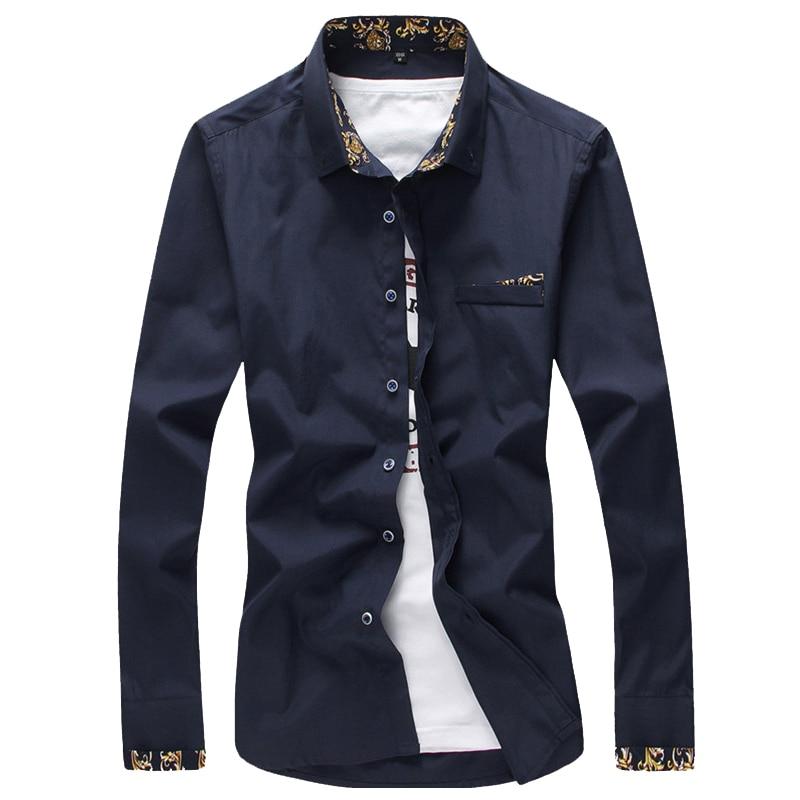 2017 Men Dress Shirts Business Formal Pocket Decoration Male Social Long Sleeve Pure Color Shirts Big Size 4XL