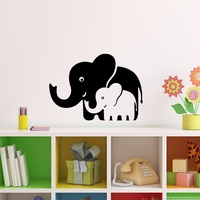Mom and Baby Elephants Vinyl Wll Decal Wall Stickers Art Wallpaper for Living Room Children Room Nursery Cars Laptop Home Decor