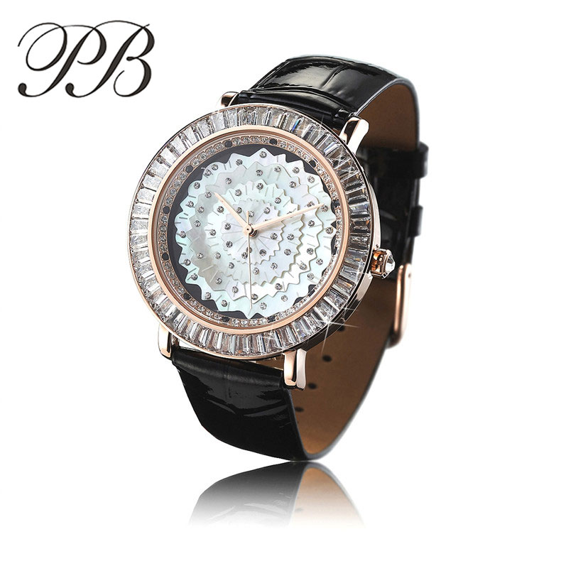 Ladies Dress Watch Brand PB Featuring a Mother of Pearl Dial Diamonds Leather Strap Waterproof Quartz-Watch Relogio Tag HL565 featuring featuring fe017ewgkq27