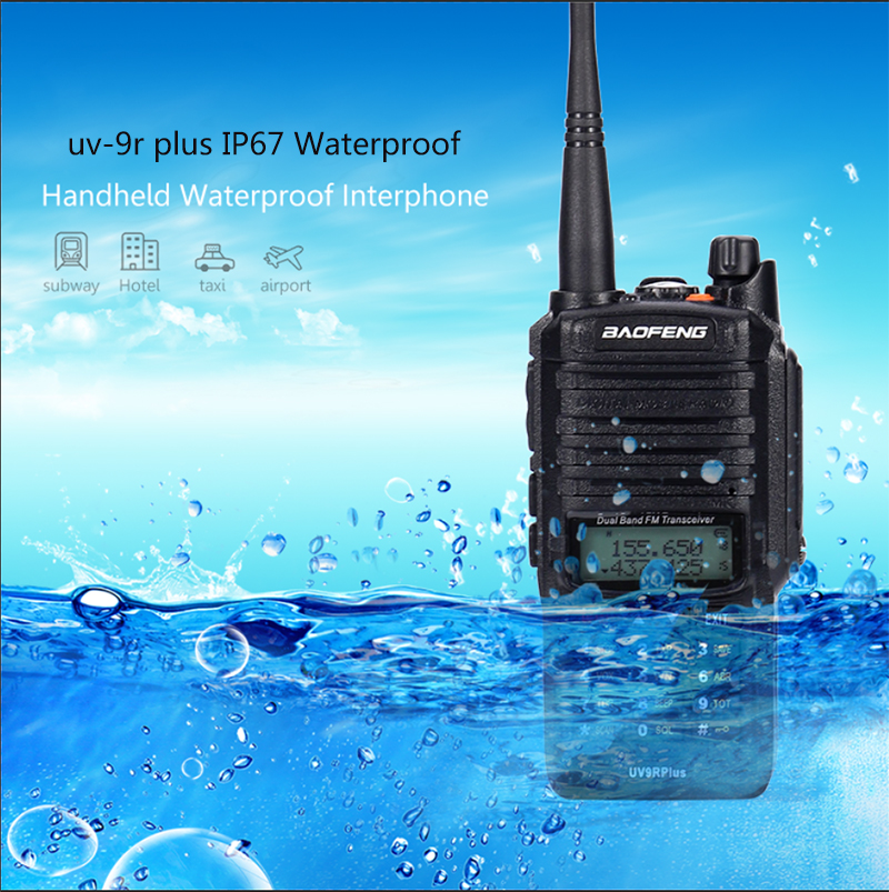 2pc long range 15W baofeng uv 9r plus waterproof walkie talkie with 8000mah amateur cb radio