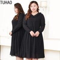 TUHAO plus size 10XL 9XL 8XL Womens Elegant black dress spring Summer Work Office Casual Party A Line Dress 7XL 6XL woman dress