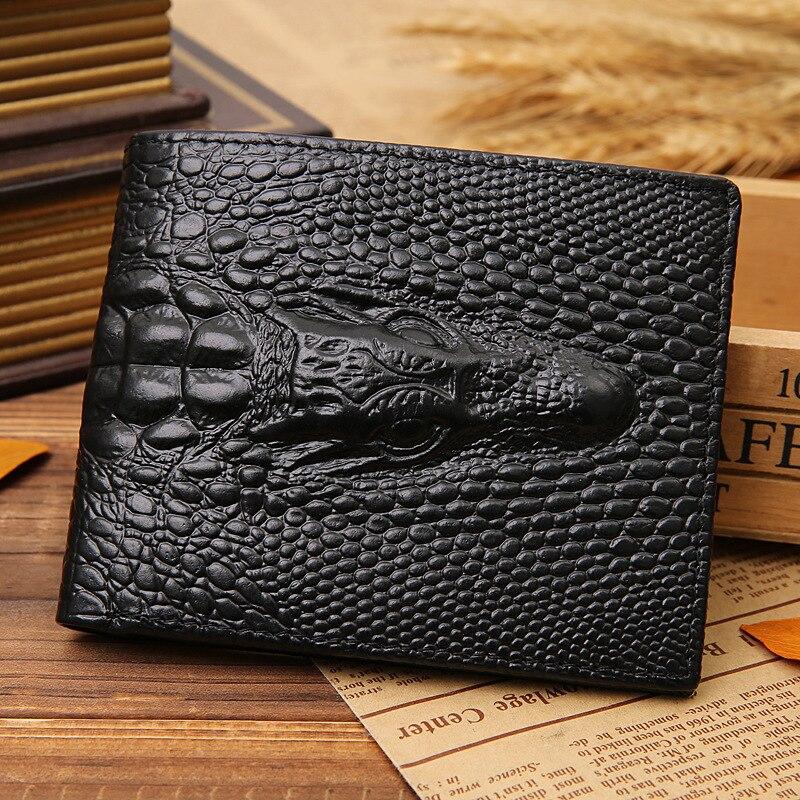 Hot Fashion New Men ID Credit Card Holder Wallet Bi-fold Flip Purse Clutch Pockets Crocodile Pattern Birthday Gift