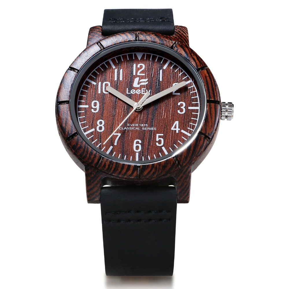 Top Brand Designer Mens Wood Watch for Men Women Bamboo Wood Quartz Watches With Scale Soft Leather Straps Casual Wristwatch ebony wood sunglasses men brand designer fashion polarized sun glasses with bamboo box z68020