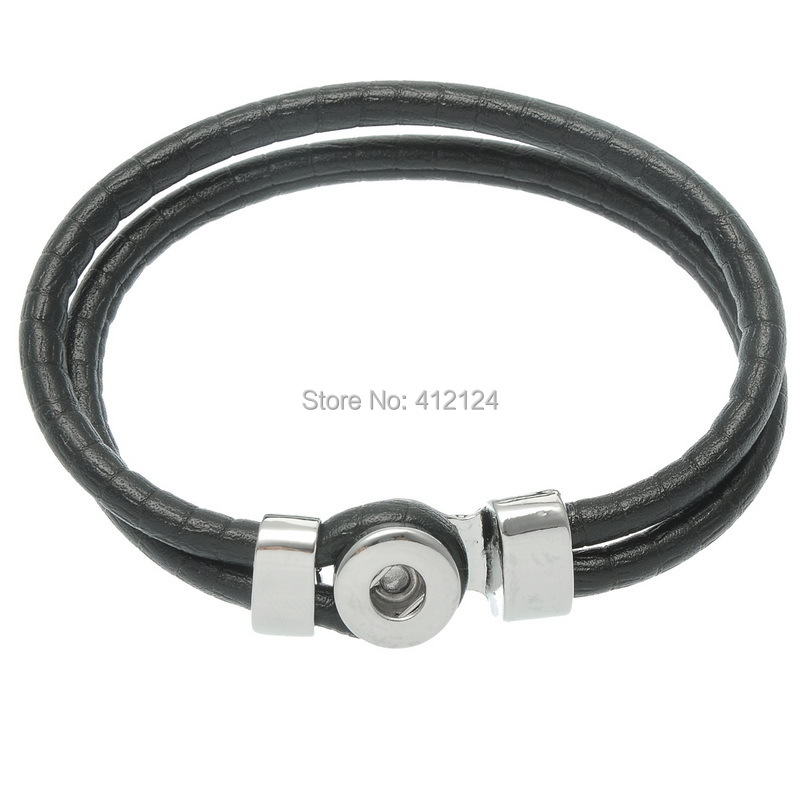1Pc Black Polyurethane Leather Buckle Snap Bracelet Fit 12mm Mini Snap Press Buttons Diy Jewelry 20.5cm image