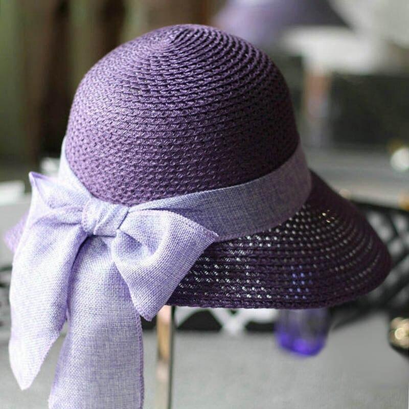 Fibonacci 2018 New Summer Female Sun Hat Bow Ribbon Panama Beach Hats for Women  Chapeu Feminino Sombrero Floppy Straw Hat-in Sun Hats from Women s Clothing  ... e29e343f2ea1