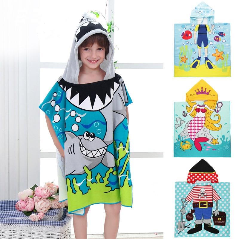 Kids Character Hooded Bath Beach Towel Poncho Beach Swim Pool Fun Hoodie Bath Towel For Girl Boy Mermaid Shark Cartoon Gift