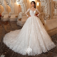 a69b370ae 2019 Graceful Long Sleeve Wedding Dress Lace High Quality Illusion Buttons  Back Chaple Train Formal Bride