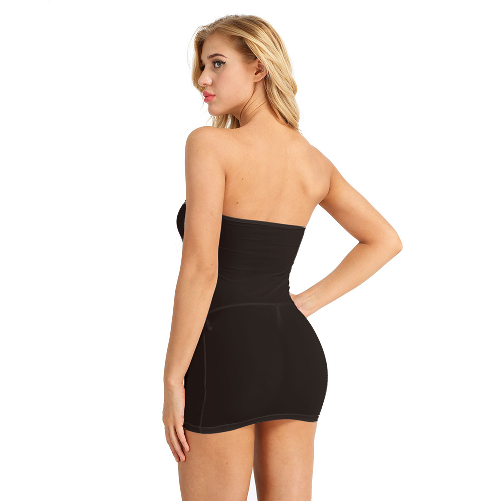 iiniim Ultra Thin Sexy Ladies Dress Strapless Long Tube Top Dress Sexy Night Clubwear Wetlook See-through Dress for Womens 5