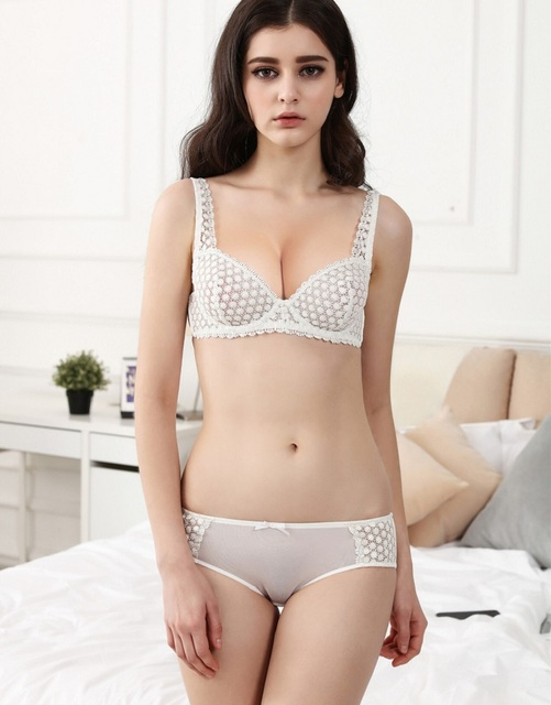 62f9a85926 New Model Bra   Brief Sets Flower Gauze Lace Embroidery Ultra-thin  Transparent Sexy Bra