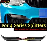 M3 F80 Carbon Fibon Glossy Black Conner Splitter Up P Style For BMW F80 M3 F82 F83 M4 2013 2018 420i 428i 430i 440i 4 Series