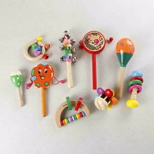 1pc newborn educational baby wooden toys 0-18 month Baby Colorful Bebe Handbell Baby Rattles & Mobiles Geometric shape T1116