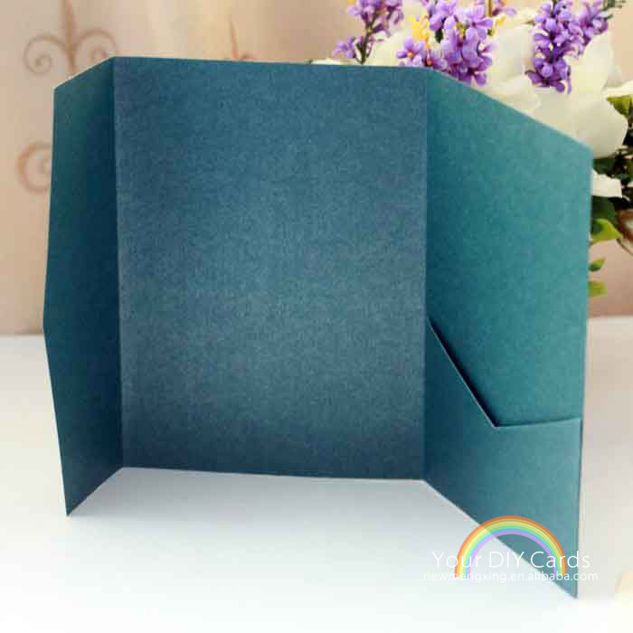 Online Shop Wholesale Custom Pocket Folder Horizontal Fold Wedding Invitations Card Greeting 100pcs