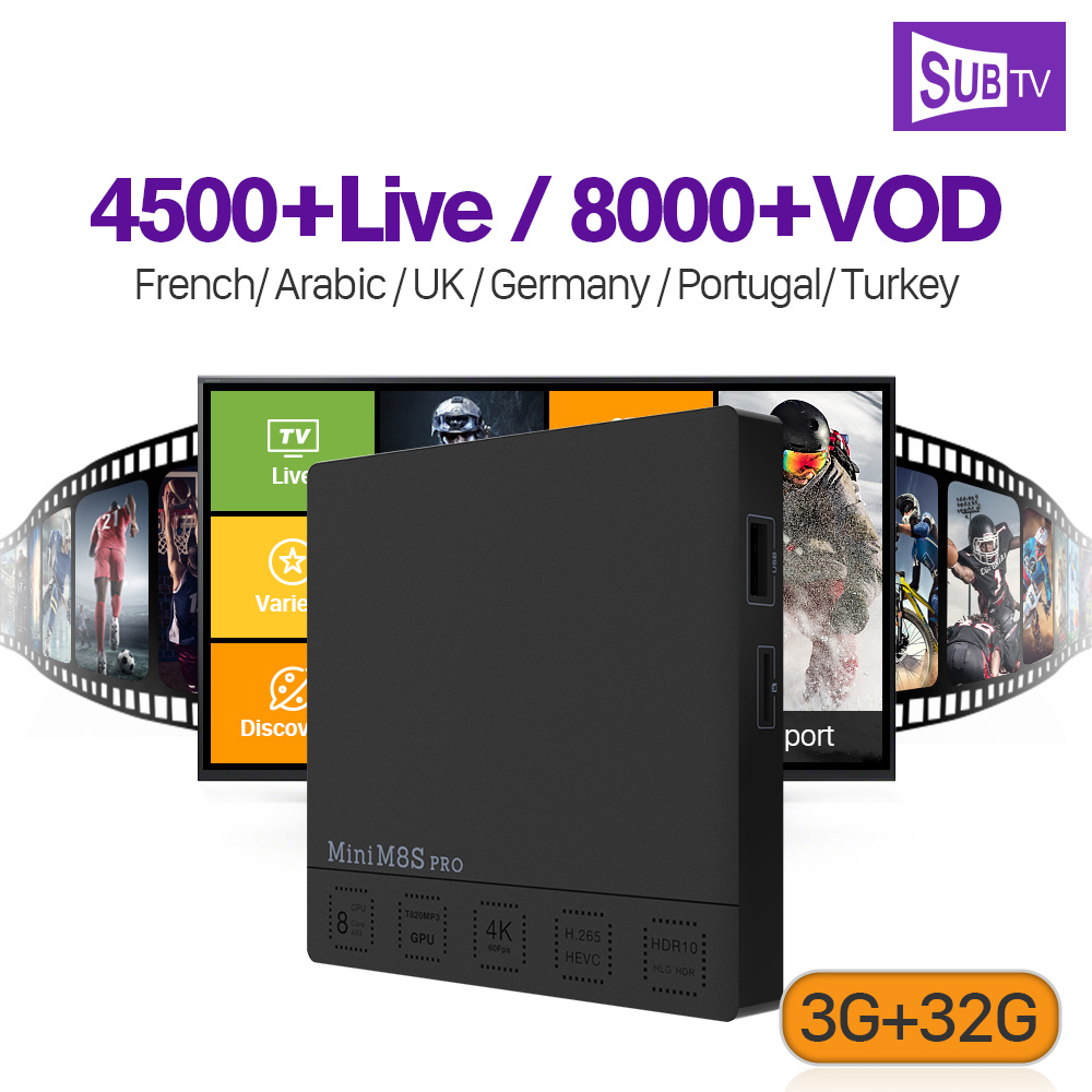 IP ТВ Франции Full HD SUB ТВ подписки мини M8S Pro ТВ Box Smart Android 7,1 ТВ приемник Европейский IPTV французский арабский IP ТВ Top Box