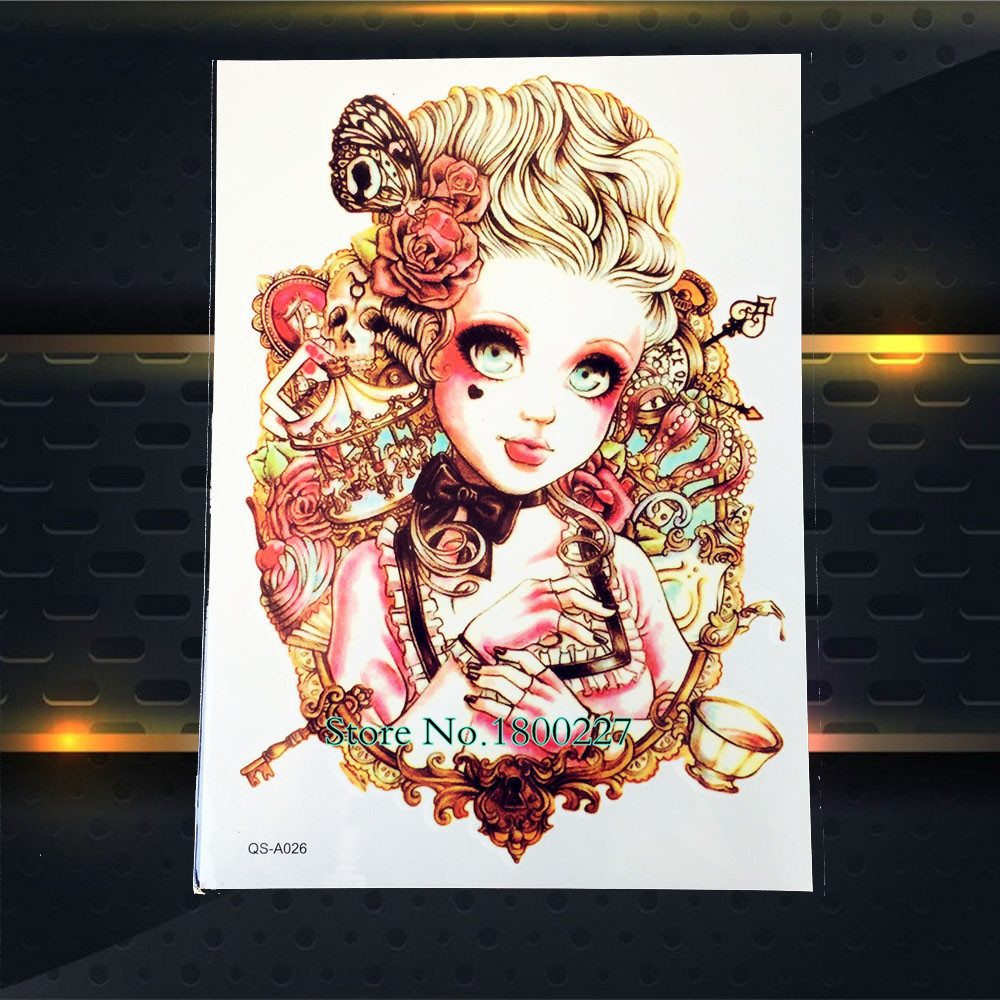 1PC Summer Style Sexy Punk Girl Design Tattoo Stickers Body Art Flash Tattoo Paste Paper 21*15CM Large Arm Shoulder Chest Legs