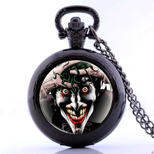 Antique Joker Pattern Pendant Vintage Clown Pocket Watch Steampunk Necklace Chain Best Friends Gift