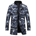 Plus Size 2016 New Mens Down Cotton padded Coat Camouflage Printing Parkas Winter Jacket Men Thick Winter Male Down Coat W361