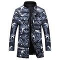 Plus Size 2016 Nuevo Hombre Abajo Algodón acolchado Abrigo de Camuflaje impresión de la Chaqueta de Invierno Parkas de Los Hombres de Invierno Gruesa Masculina Abajo de la Capa W361