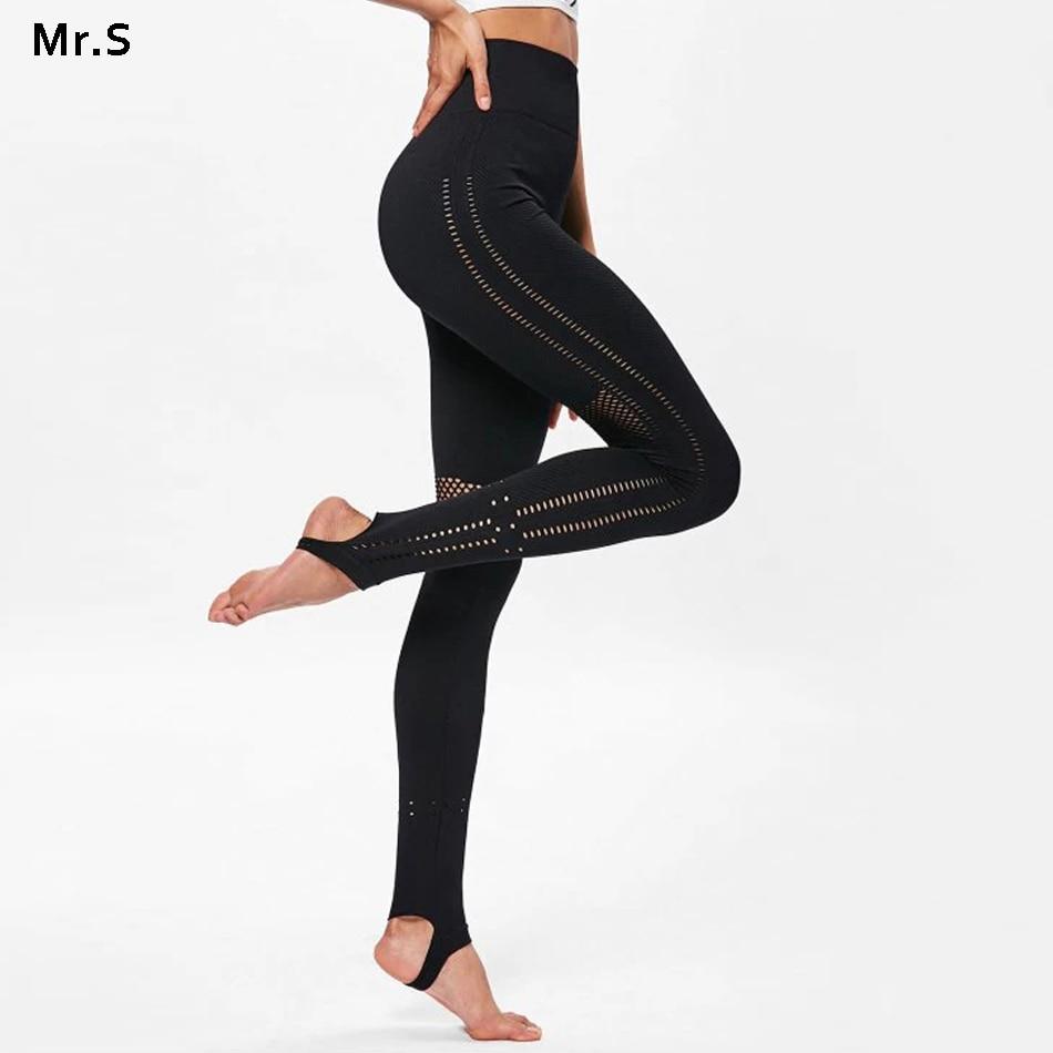 Mesh Yoga Pants Women's High Waist Seamless Gym Leggings