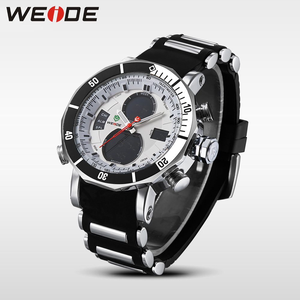 WEIDE Men Sports Watch Quartz Digital Stopwatch Dual Time Zones 1