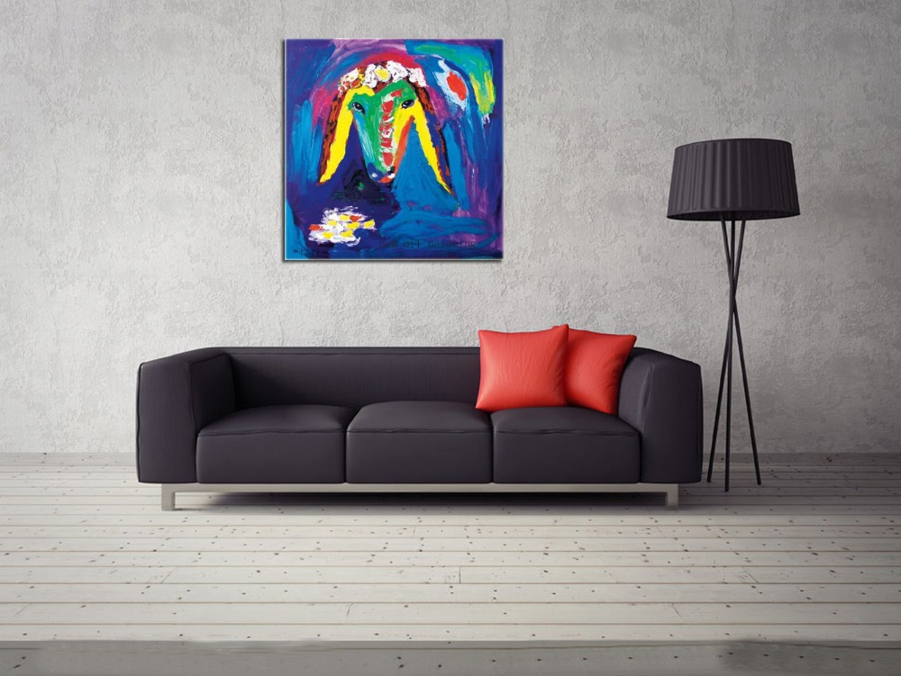 Hand Painted Reproductions Top Artist Sheep Head Oil Wall Artwork Canvas Oil Painting Colorful font b