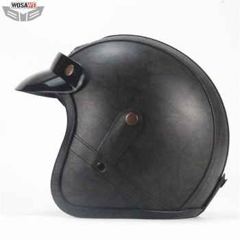 WOSAEW Motorcycle Helmet Half Face Scooter Motocross Motorbike Helmet moto Racing Head Protection Gear Retro Personality Helmet