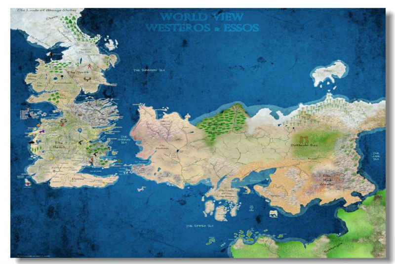 Free Ship Game Of Thrones Map Nice Home Decor Custom Canvas Poster Stylish Wallpaper Fashion Wall Sticker Pn 1109