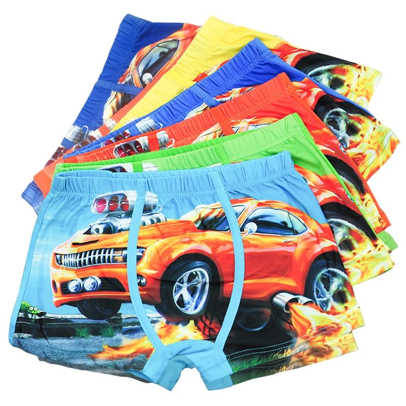 5 Pcs/lot Baby Childrens Boxer Underpants Briefs Cartoon Car Kids Boy Underwear For Boys Underware Pants For 3-11 Y