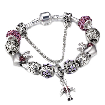 SPINNER Travel Aircraft and Earth Charm Bracelet Women With Crown Beads fit Snake Chain Pandora Bracelets Female Diy Jewelry пандора браслет с шармами