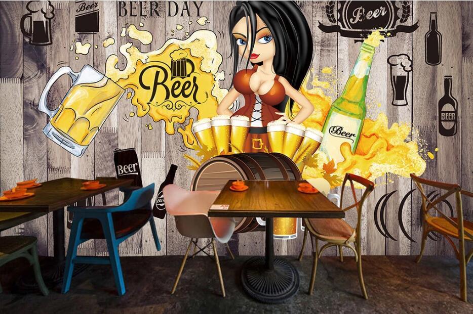 Custom wallpaper mural hand-painted beer decorative painting wall