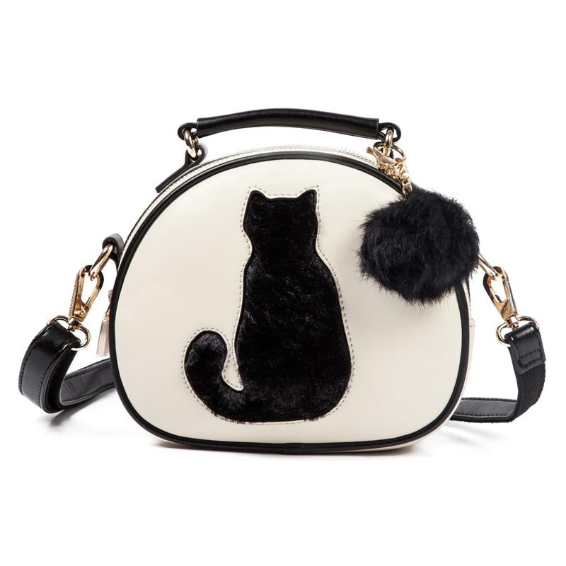 6d23a3618ec5 Vogue Star 2018 с принтом кота сумка женская через плечо сумки круг Для  женщин кожаные сумочки с меховым помпоном Для женщин сумка LS499 купить на  ...