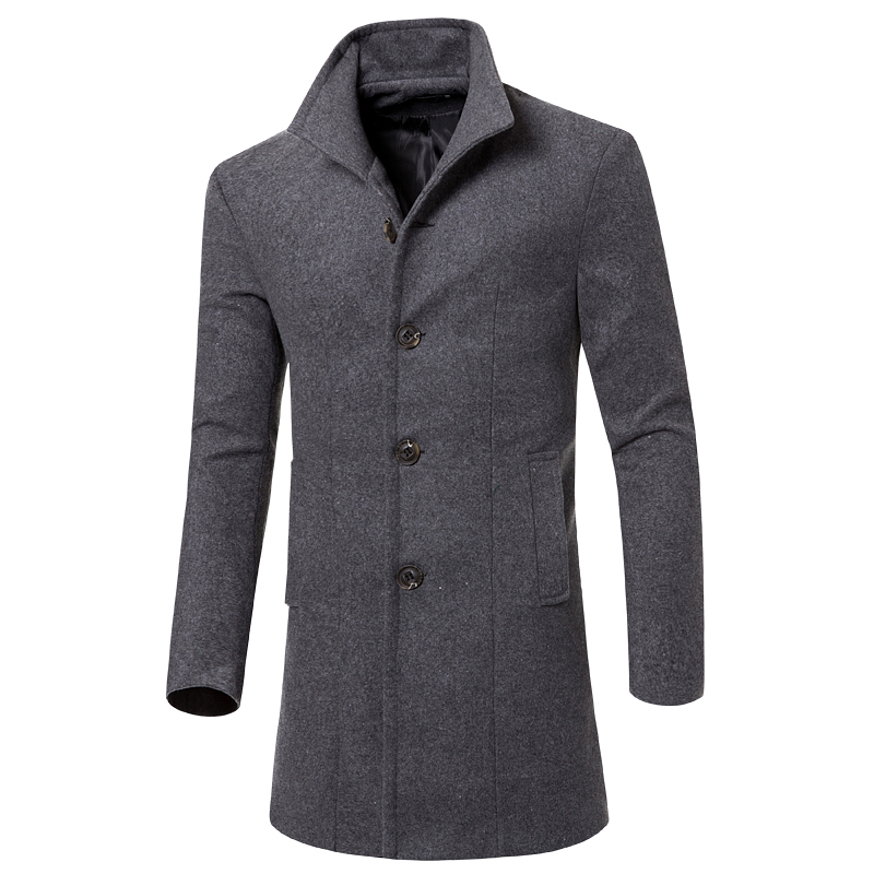 Trench Coat Men's Autumn And Winter Thick Wool Long Solid Color Lapel Coat / Slim Warm High Quality Blends Coat
