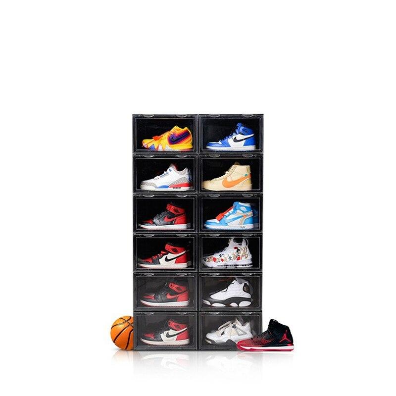 2019 tendance en plastique Transparent boîte à chaussures épaississement peut être superposée baskets côté vitrine chaussures de sport organisateur stockage - 2