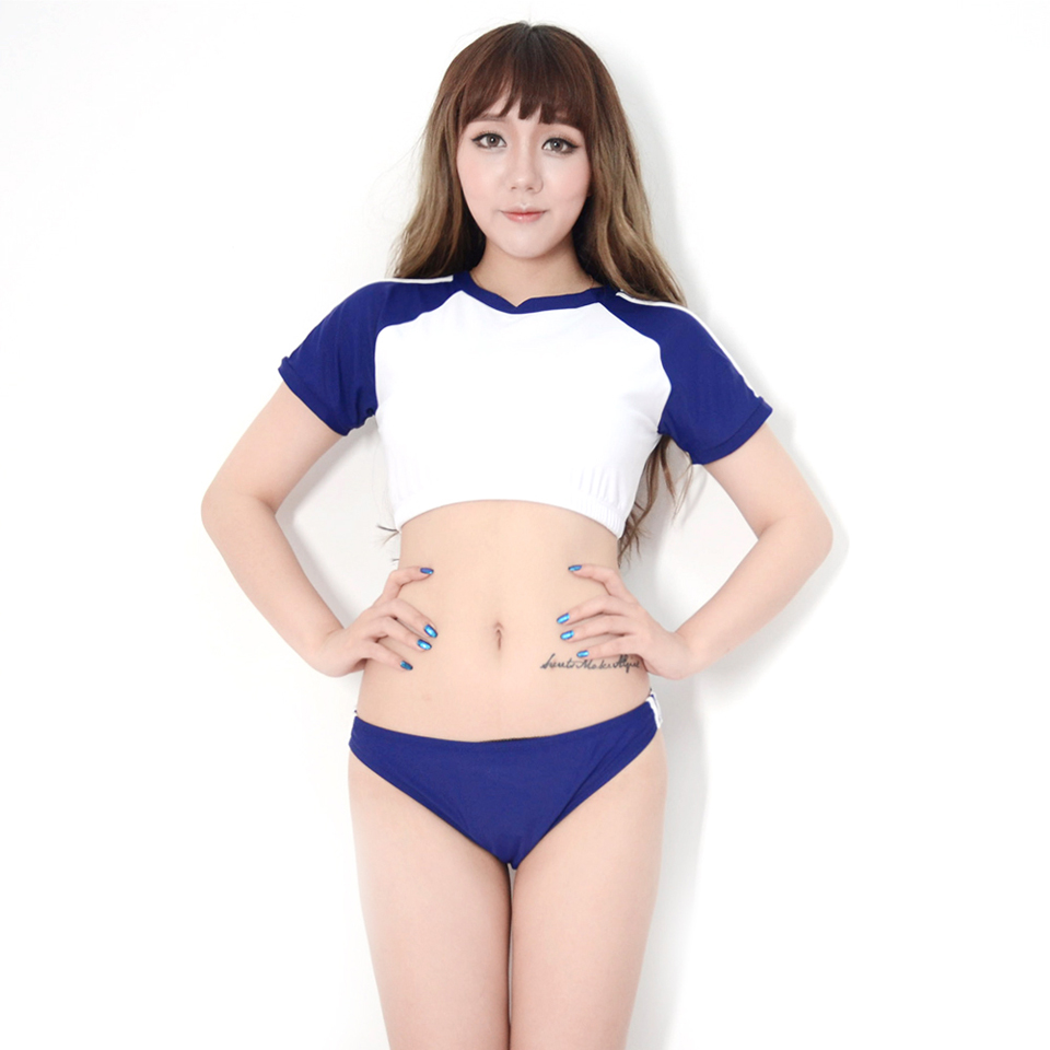 Conservative Two Pieces Suit Sex Campus Hot Swimsuit Japanese Sukumizu Sleeve T-Top&Triangle-Bottom Aerobics Sports Swimwear