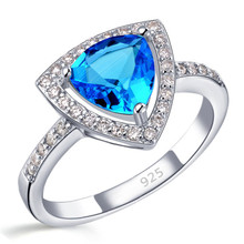 JEXXI Trendy Triangle Blue Crystal Finger Rings 925 sterling-silver-jewelry with Micro Cubic Zirconia for Women Wedding Jewelry