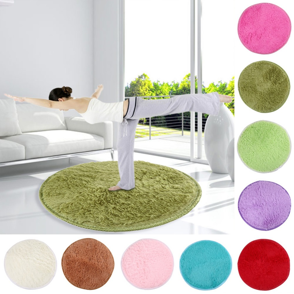Home Textile Fluffy Foam Floor Carpet Rug Non Slip Shower Bedroom Door Mat Floor Carpet Round Yoga Shape Dia 82cm