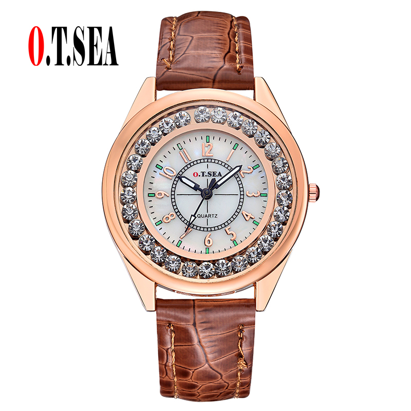 Luxury O.T.SEA Brand Leather Watch Women Ladies Rhinestone Dress Quartz Wristwatch relogios feminino OTS039