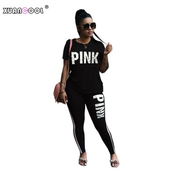 Pink Letter Short Sleeve Tops and Side Stripe Long Pants Suit Ladies Casual Two Piece Set Plus Size